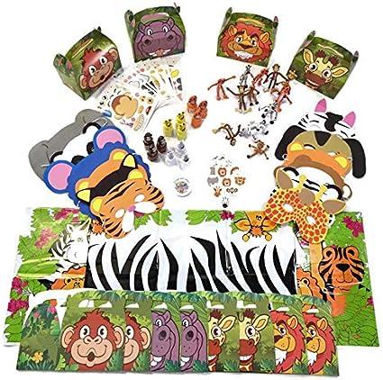 12 Wild Jungle Zoo Safari Animal Temporary Tattoos Party Goody Bag Favors Supply