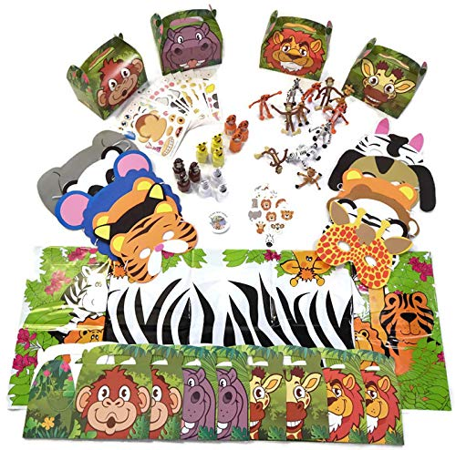(Zoo Safari Animal Party Favor Pack for 12 Kids- Masks, Bubbles, Stickers, Bendable Animals, Tattoos, Tablecloth, and Birthday)