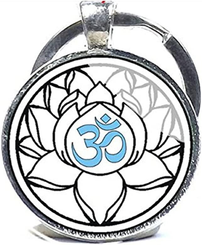 Llavero, diseño de Om, Yoga clave cadena, color blanco, con ...