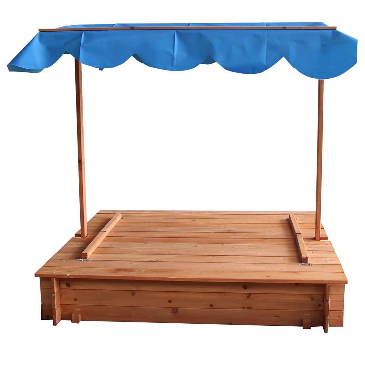 amazon com merax convertible cedar sandbox with canopy and two