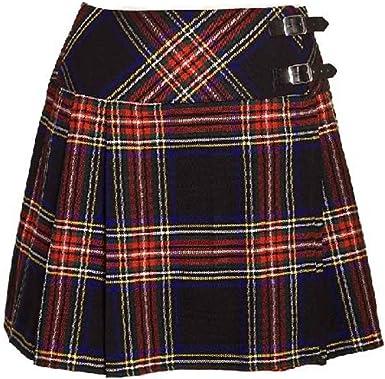 Nuevo Mujer en Negro Stewart de Cuadros Escoceses Mini Falda ...