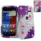 For Motorola Moto X XT1053 XT1056 XT1058 XT1055 XT1060 CellularvillaTM Purple Silver Diamond Hard Case Cover (Purple Silver)