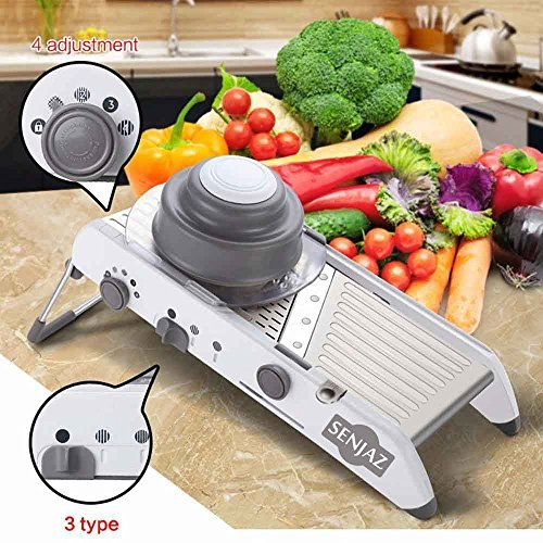 Adjustable Stainless Steel Mandoline Slicer, with integrated cutter and juliennes machine, 4 Blades, Grater Chopper Shredder Vegetable Onion Potato Carrot Slicer Food Kitchen, Gift for Her, By Senjaz