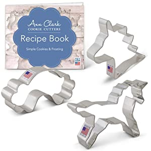 Ann Clark Cookie Cutters 3-Piece Fantasy Unicorn Cookie Cutter Set with Recipe Booklet, Unicorn Head, Unicorn, and Rainbow