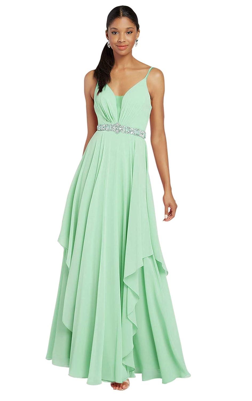 Zhongde Womens Spaghetti Straps Ruched Chiffon Long Bridesmaid Dress V-Neck Formal Evening Gown