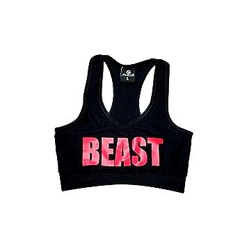 Sujetador deportivo para gimnasio, crossfit, fitness, bodybuilding, correr, entrenamiento con la palabra en inglés Beast , color rosa, tamaño XS: Amazon.es: ...
