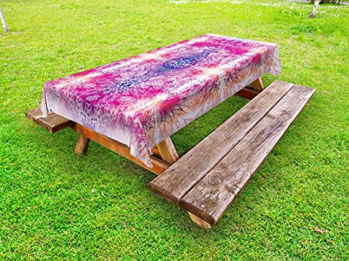 Lunarable Mandala Outdoor Tablecloth, Far Eastern Style Traditional Mandala Tie Dye Style Ombre Print Harmony Meditation Theme, Decorative Washable Picnic Table Cloth, 58 X 84 inches, Pink by Lunarable