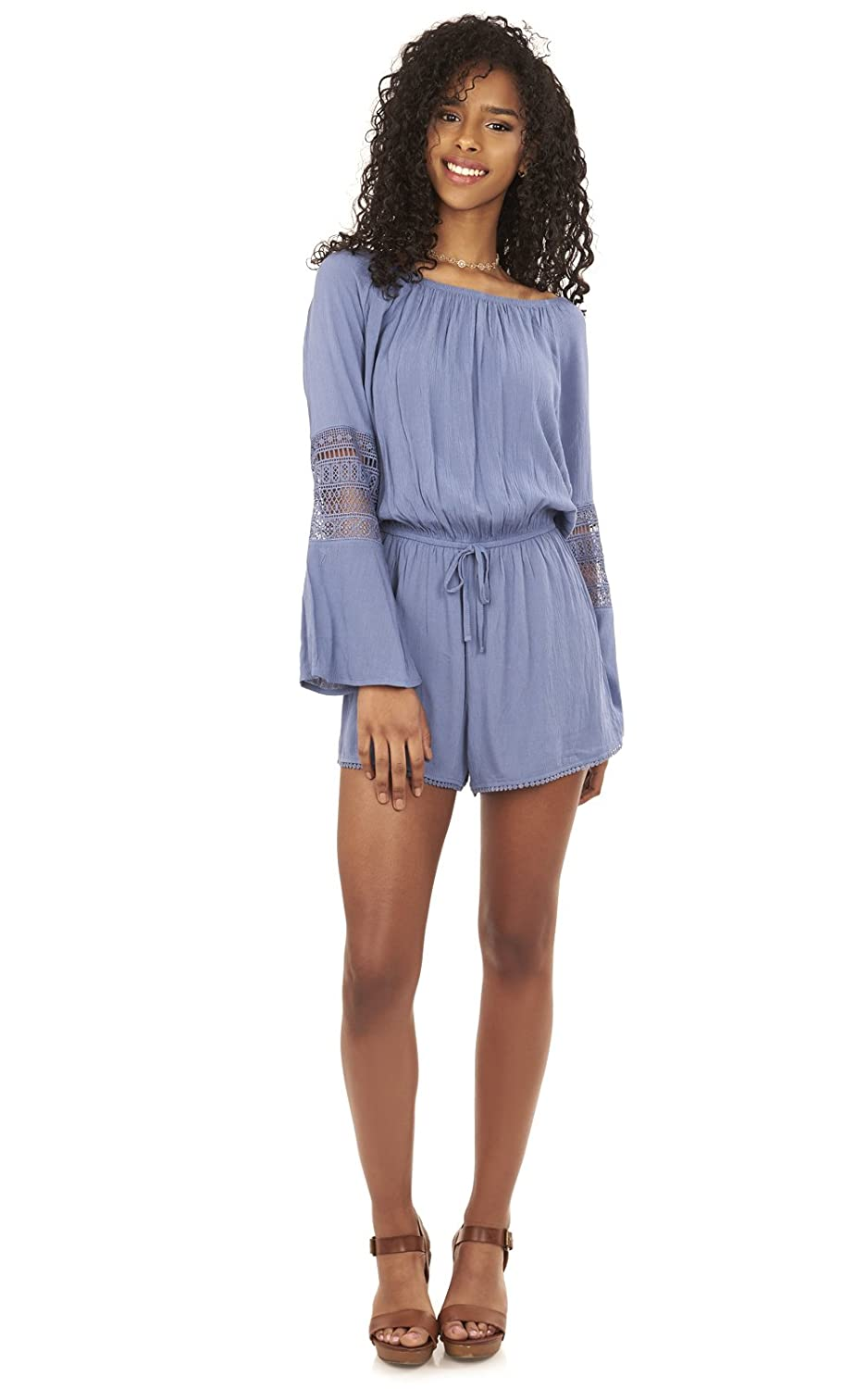 e85f01fe87d2 Amazon.com  WallFlower Women s Juniors Off The Shoulder Romper with  Crochet  Clothing