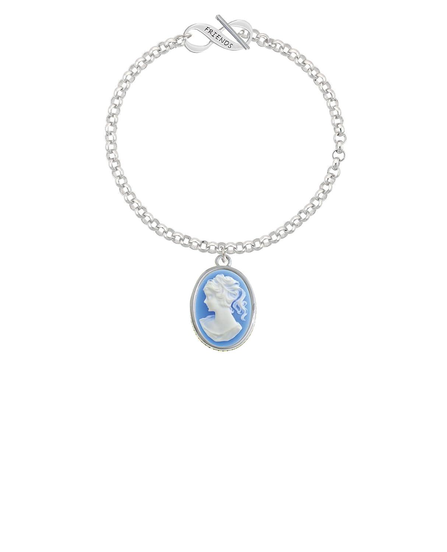 Blue Cameo Silvertone Oval 8 Friends Infinity Toggle Chain Bracelet