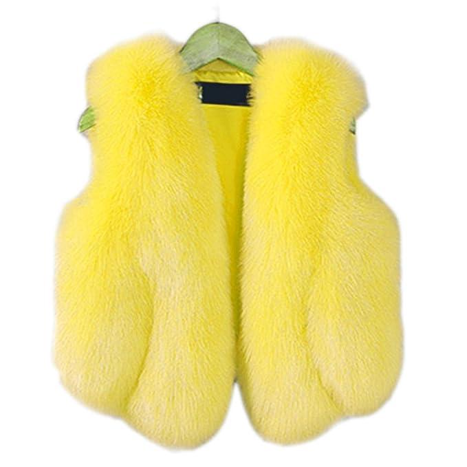 FOLOBE Niño y Mujer Faux Fox Abrigo de Piel Chaleco Chaleco de Invierno cálido Gilet niños Outwear Corto Chaleco Delgado: Amazon.es: Ropa y accesorios
