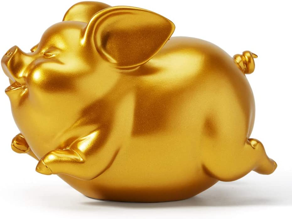 HAUCOZE Piggy Bank Coin Money Banks Flying Pig Gifts Decor Statue for Baby Boys Girls Kids Resin Gold 21cmL