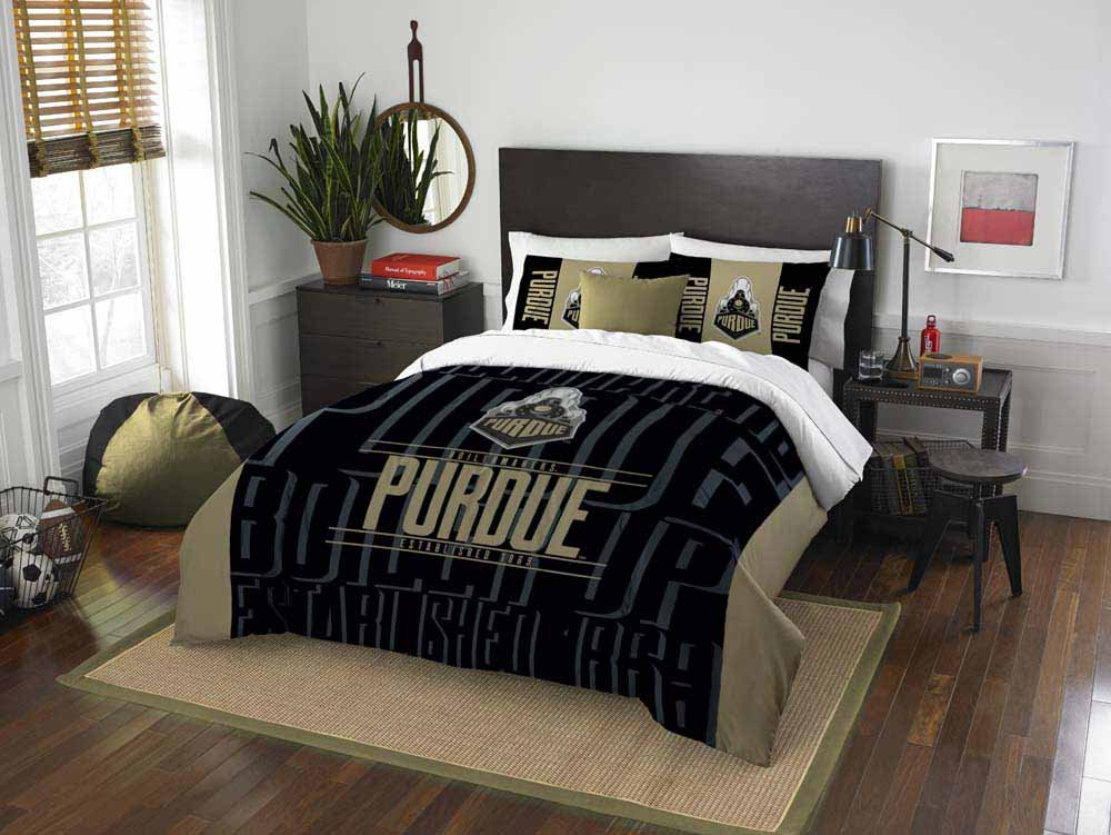 2 Piece NCAA Purdue Boilermakers Full/Queen Comforter Set, Black, Sports Patterned Bedding, Featuring Team Logo, Purdue Merchandise, Team Spirit, College Football Themed, Polyester Material