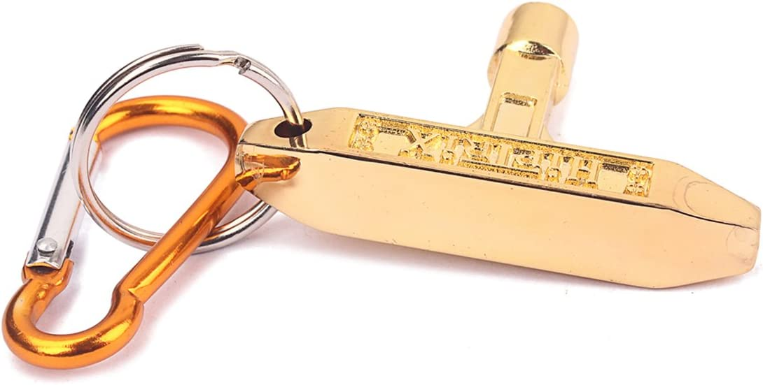 HEALLILY Jazz Drum Tuning Key Motion Speed Key Wrench With Carabiner Golden