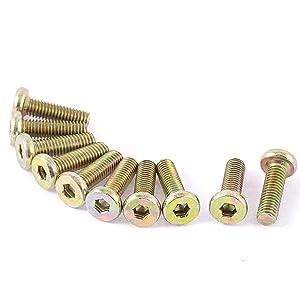 uxcell a16022300ux0877 M6 x 20 mm Threaded Hex Socket Head Cap Screw Bolt Bronze Tone Pack of 10
