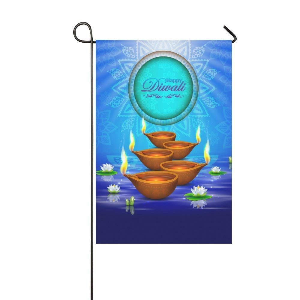 WAZZIT Oil Lamp Lotus Polyester Garden Flag 28 x 40 inch House Banner Yard Flag Home Decorative Outdoor Flag Double Sided - Diwali Burning Candle