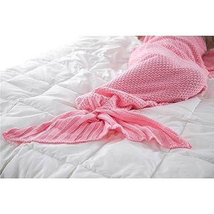 Cola de sirena de punto manta para niños, ganchillo ropa de cama saco de dormir