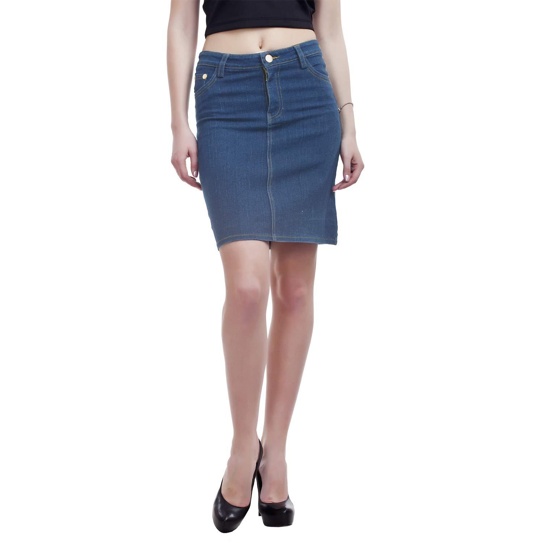 PepTrends Women's One Button Denim Skirt