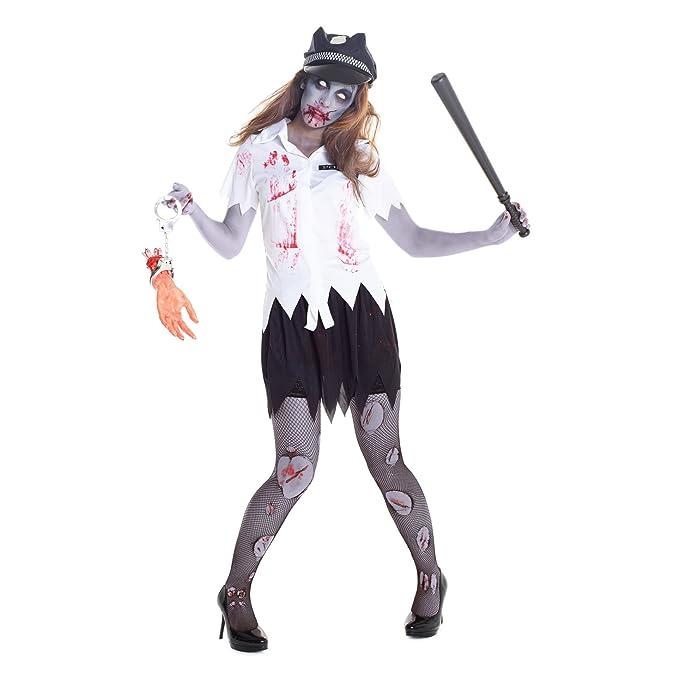 Uniforme sangriento de mujer policía zombi Disfraz: Amazon.es ...