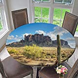 Mikihome Modern Table Cloth Famous Canyon Cliff with Dramatic Cloudy Sky Southwest Terrain Place Indoor or Outdoor Parties 67''-71'' Round (Elastic Edge)