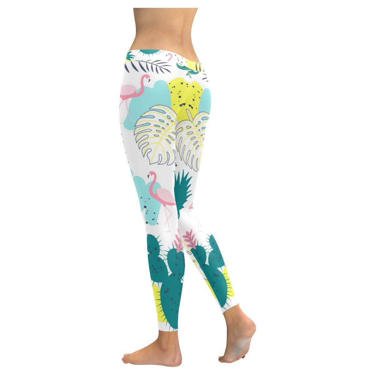 ea7605466bb266 Clothing Custom Tropical Flamingo Skinny Leggings Stretchy Capri Pants for Yoga  Workout Pilates Gym,2XS-5XL