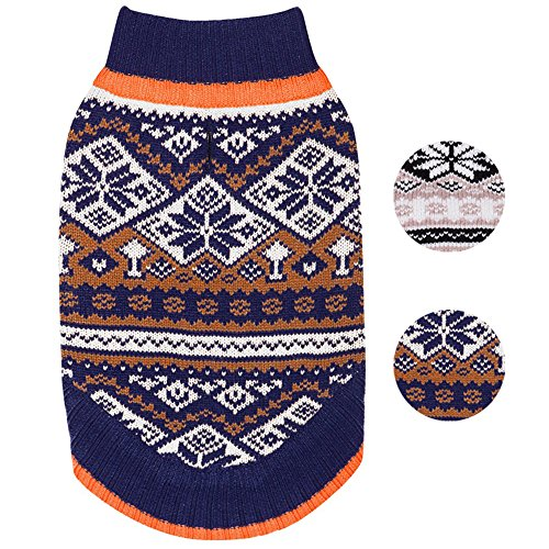 Snow Dog Sweater - Blueberry Pet 2 Patterns Nordic Pattern Inspired Fair Isle Navy Blue Snowflakes Dog Sweater, Back Length 14