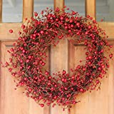Ridgewood Red Berry Wreath 24 Inch - Stunning Red Berry Front Door Wreath Design That Transforms Winter Decor, Beautiful White Gift Box Included.