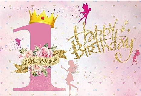 Cassisy 2,2x1,5m Vinilo 1er cumpleaños Telon de Fondo Feliz cumpleaños Lentejuelas de Oro Pequeña Princesa Ángel Fondos para Fotografia Party bebé ...