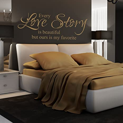 Every Love Story Is Beautiful Vinyl Love Saying Love Wall Quote Romantic  Love Decal Bedroom Wall Art Sticker Dark Brown