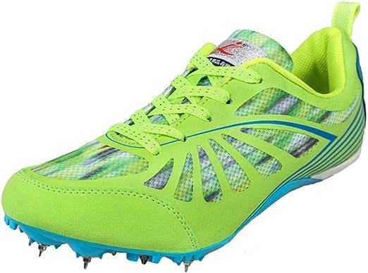 FJJLOVE Los Hombres Atletismo Zapatos de Malla Transpirable Zapatillas de Deporte de Desgaste de Campo a través Spikes Profesional de los Zapatos Corrientes de formación,Verde,41: Amazon.es: Hogar