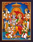 HandicraftStore Hindu Religious Holy Ram Darbar, Lord Ram with Sita and Bharat and Hanuman showing his gratitude, A Hindu Religious Poster painting with frame for Hindu Religious and Gift purpose.