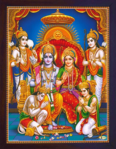 HandicraftStore Hindu Religious Holy Ram Darbar, Lord Ram with Sita and Bharat and Hanuman showing his gratitude, A Hindu Religious Poster painting with frame for Hindu Religious and Gift purpose. by HandicraftStore