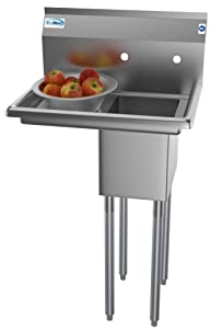 """KoolMore 1 Compartment Stainless Steel NSF Commercial Kitchen Prep & Utility Sink with Drainboard - Bowl Size 10"""" x 14"""" x 10"""""""