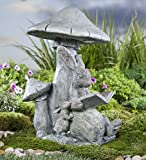 Plow & Hearth Solar Reading Bunny Outdoor Yard Garden Animal Statue Decor