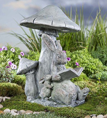 Solar Bunny (Solar Reading Bunny Outdoor Yard Garden Animal Statue Decor)