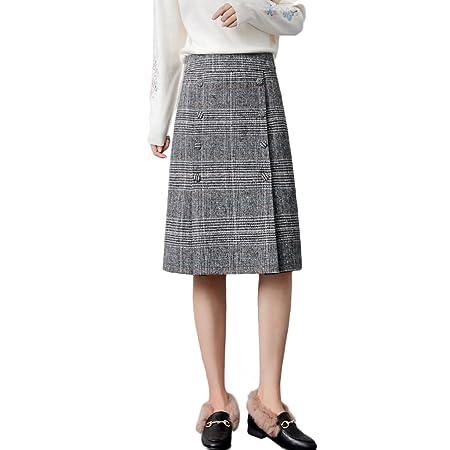 LINSYT Falda recta de cintura alta de invierno de cintura alta de ...