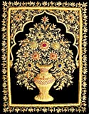 18''x24'' Indian Hand Embroidered Zardozi Zardosi 3D Wall Decorations Decoratives Hanging - Flower Vase is in 3D embroidery.