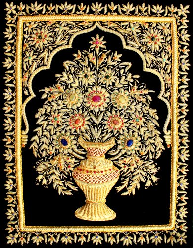 18''x24'' Indian Hand Embroidered Zardozi Zardosi 3D Wall Decorations Decoratives Hanging - Flower Vase is in 3D embroidery. by StonKraft