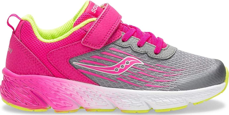 Saucony Girl's S-Wind A/C Sneakers, Grey/Pink, 11.5 XW US Big Kid