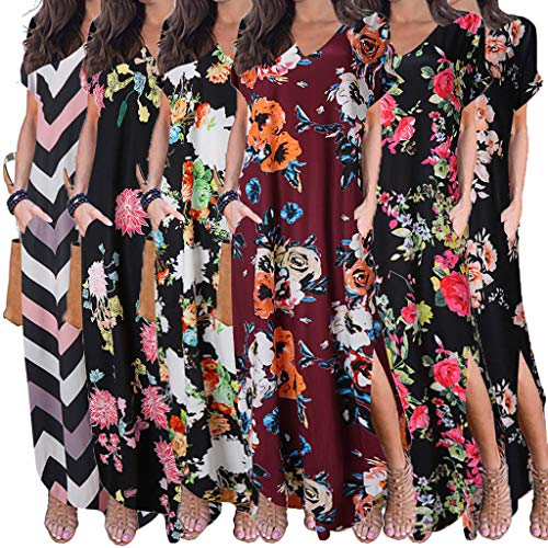 aihihe Boho Maxi Dresses for Women Summer Plus Size V Neck Short Sleeve Floral Print Beach Dress with Pocket (Red,L) -