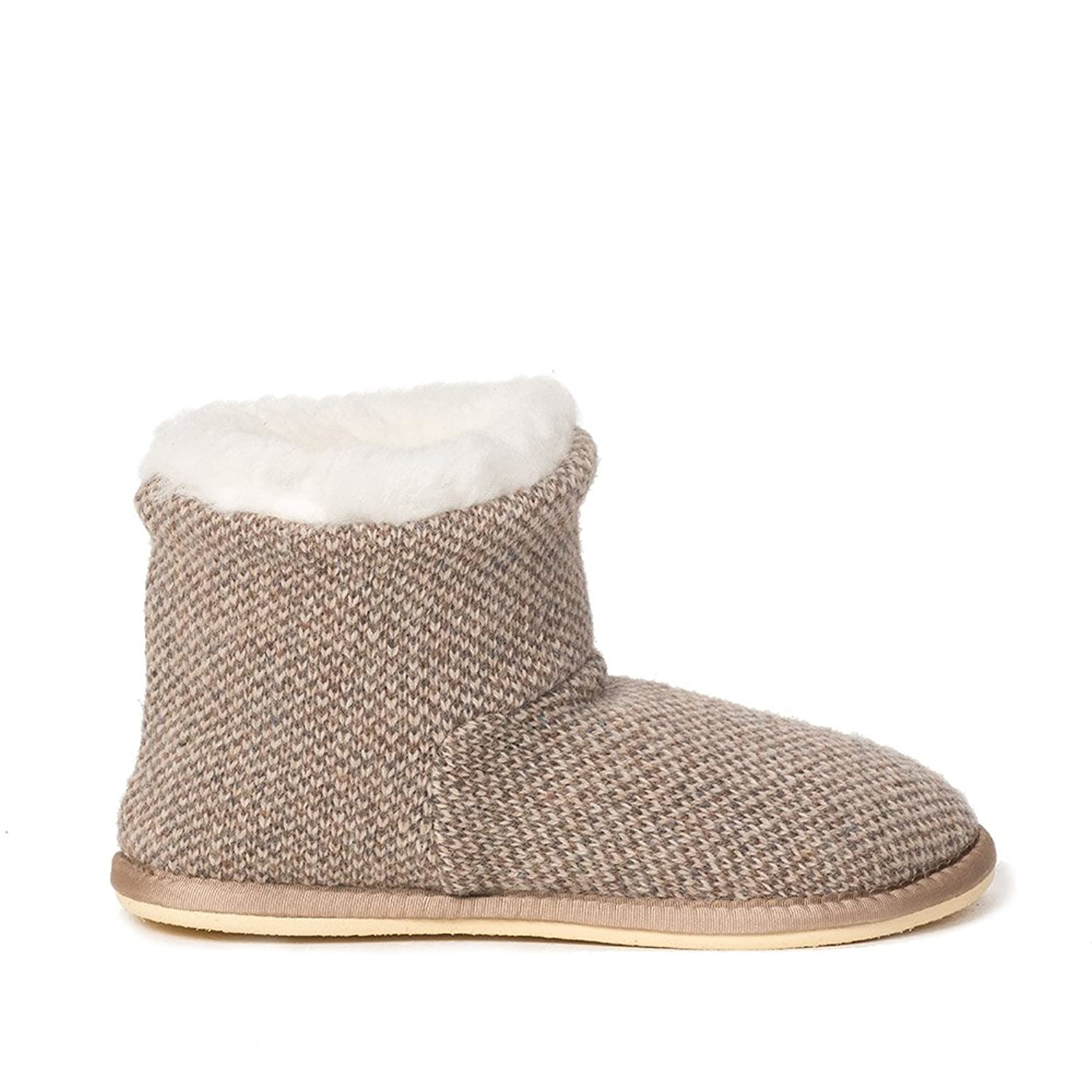 Amazon.com | Celtic and Co Womens Knitted Boot British Sheepskin Lined  Slippers - Pebble - Size 4 | Slippers