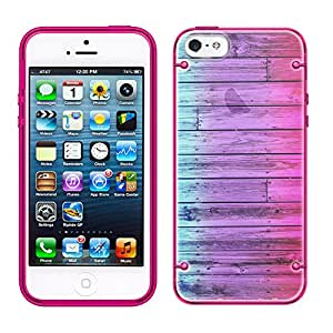 iPhone 5 Dyed Wood Blue Pink See Through Case with Glow Pink Trim