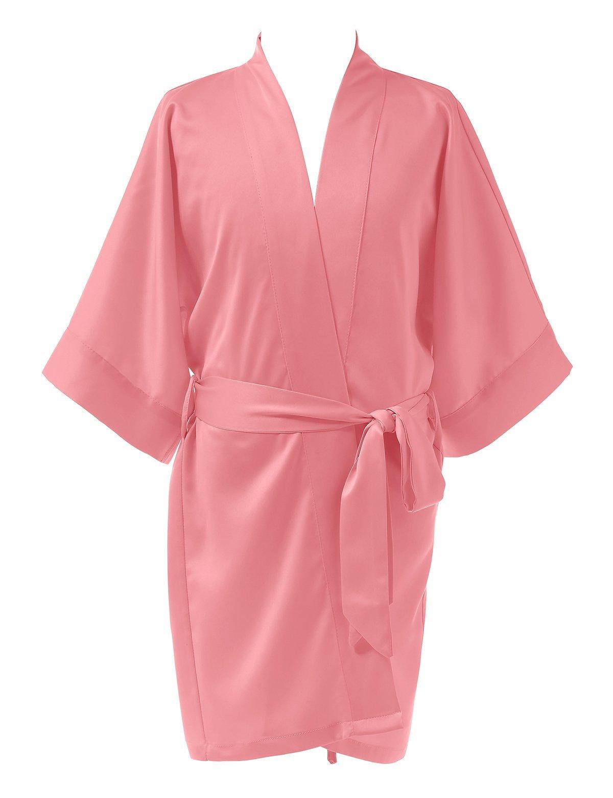 Remedios Girls' Satin Kimono Robe For Spa Party Wedding Birthday Bathrobe Nightgown, Coral Pink, L