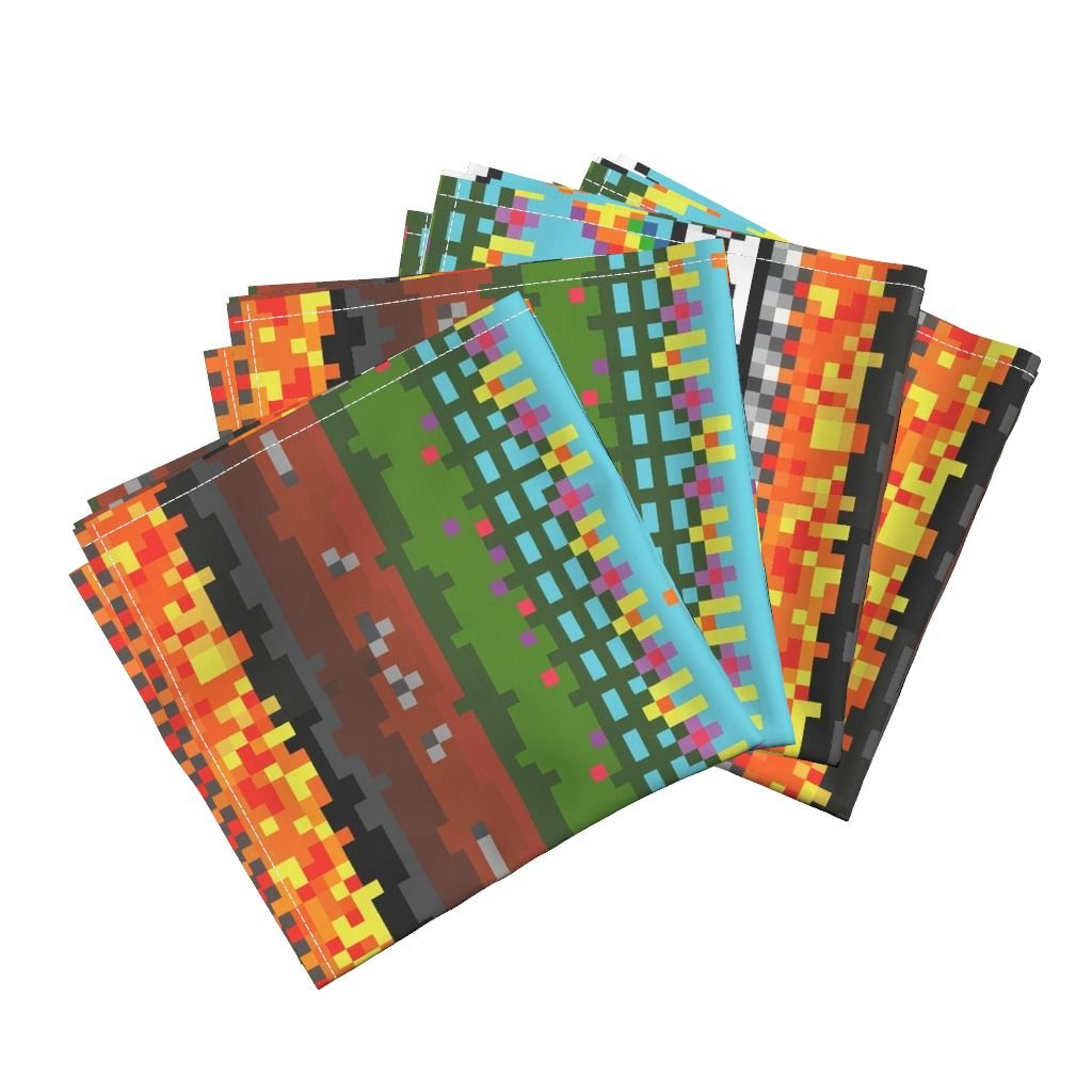 Roostery 8 Bit Pixel Byte Kid Rainbow Video Game Gamer Linen Cotton Dinner Napkins Level 8~8 Layers in 8-Bit by Peacoquettedesigns Set of 4 Dinner Napkins