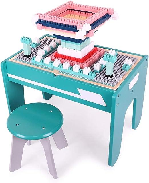 Bloque De Construcción Juego De Mesa Mesa de rompecabezas de aprendizaje temprano 3-6 años Mesa de madera for niños Gránulos multifuncionales Mesa de juguete for ensamblaje de bebés De Los Niños Build: