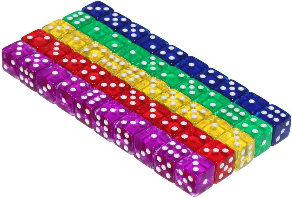 Rounded Corners 16mm Twin Pearl Colours Choose Your Set of 5 6-Sided Dice 4g