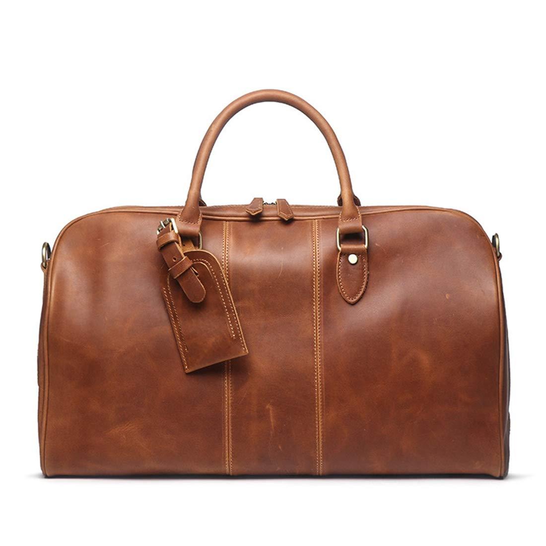 Color : Brown KRPENRIO Mens Leather Handbags Women Shoulder Messenger Bags Large Capacity Travel Duffel Bag