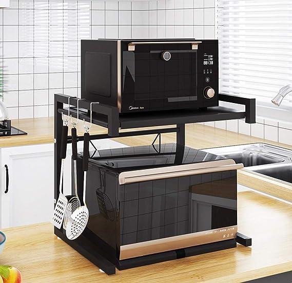 APOE Soporte para Microondas, Estante Cocina Extensible Multifuncional Estante para Horno de Microondas con 3 Ganchos Encimera Cocina Mueble Microondas Negro 43-65x36x42cm: Amazon.es
