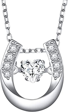 925 Sterling Silver Polished Luck and Horseshoe Pendant Necklace Jewelry Gifts for Women