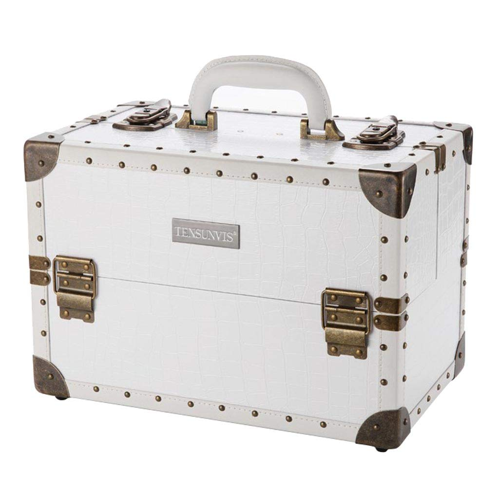 TY BEI Multi-Function Professional Multi-Layer Tray Large Capacity Portable Cosmetic Case White Jewelry Box 36×22×24.5cm