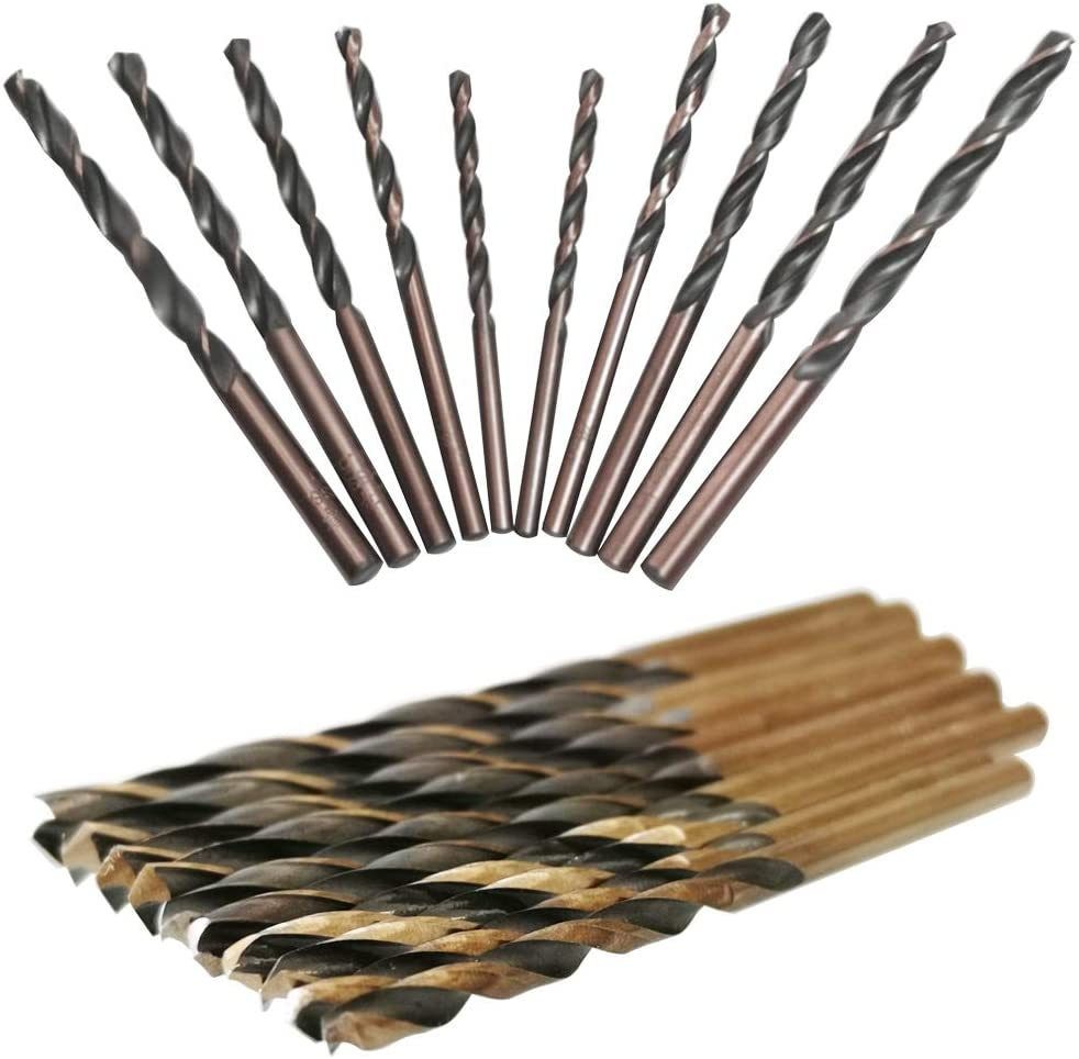 CESFONJER Broca de Acero de Alta Velocidad HSS, Brocas de Acero de Alta Velocidad de Cobalto, Broca Metálica, 3mm 2P, 3.5mm 2P, 4mm 2P, 4.5mm 2P, 5mm 2P (10 unidades)